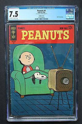 PEANUTS #1 Gold Key 1963 Dick Hale Charlie Brown Scarce DOUBLE COVER CGC VF- 7.5