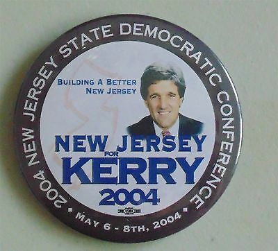 John Kerry New Jersey 2004 campaign pin button political