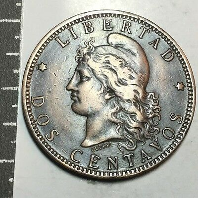 ARGENTINA 1891 2 Centavos coin very nice cond, cleaned, rim nk.
