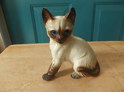 Vintage Made in Japan Ceramic Siamese Cat Sitting Figure