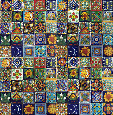 Mexican Talavera Tiles Handpainted  Set 100 Sale 2X2""