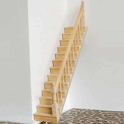 1:12 Scale Dollhouse Wooden Stair Staircase Right Handrail Housebuilding US
