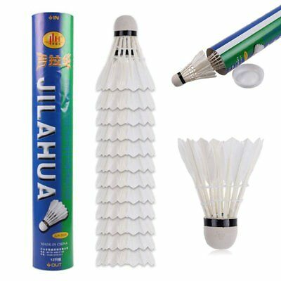 12x Training White Goose Feather Shuttlecocks Birdies Badminton Ball Game
