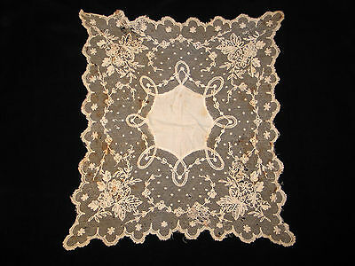 Antique 19Th Century Lace Edged Handkerchief French Tambour Net Lace  -Ivory