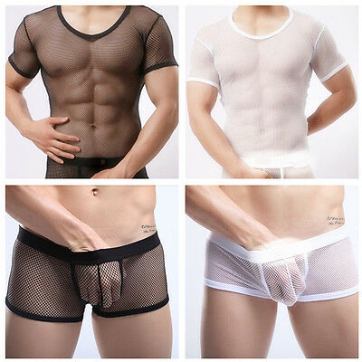 Men's Sheer Fishnet Short Sleeve Shirt Top Undershirt Boxer Shorts Underwear