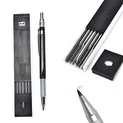 12x Leads 2mm Lead Automatic Draughting Mechanical Drafting Pencil Holder black