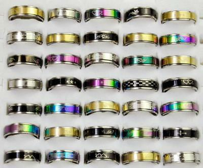60pcs Fashion Stainless Steel Rings Wholesale Jewelry Mixed Lots Free Shipping