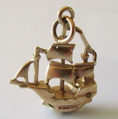 Vintage 9ct Yellow Gold Blue Peter Ship Charm (Opens)