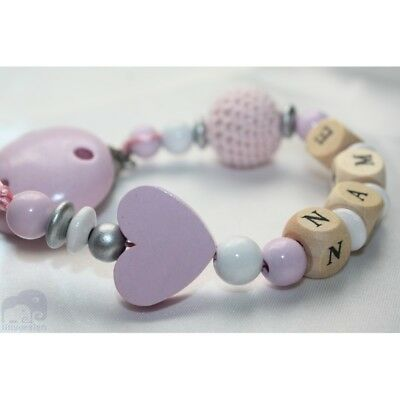 Personalised Wooden dummy clip * Pink Crochet & Heart / Strap Baby Present