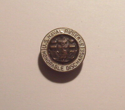 VINTAGE U.S. Naval RESERVE Honorable Discharge LAPEL PIN Button Hole