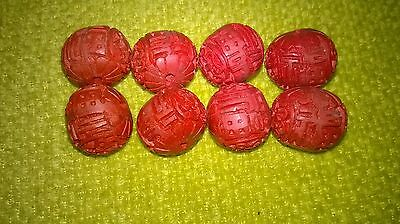 ~✿ Cinnabar Chinese Carved Wooden Beads  ✿~ Red Vintage   Circa 1900