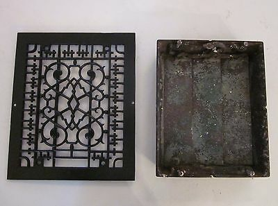 Antique Victorian Cast Iron Grate Vent for Heat Duct Ornate Details 8x10 Opening