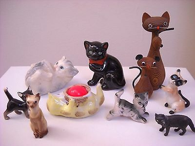 Lot of 10 Cat/kitten Figurines Bone China, Wood, Siamese, Tabby, Black, & Other