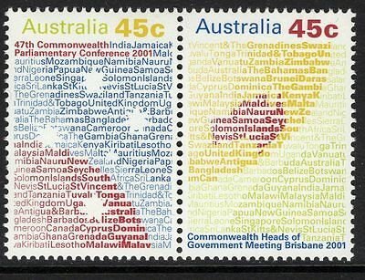 AUSTRALIA SG2138a 2001 COMMENWEALTH HEADS OF GOVERNMENT MEETING MNH