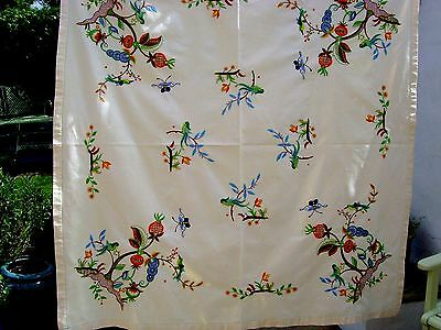 Great Vintage Hand Embroidered Tablecloth Jacobean Tree Of Life Birds Crewelwork