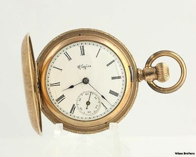As Is Parts 1895 Elgin Hunter 0s Pocket Watch 7 jewels Gold Filled Non-Working