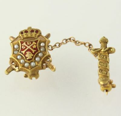 DeMolay Badge - 10k Yellow Gold Red Enamel Genuine Seed Pearls Collectible Pin