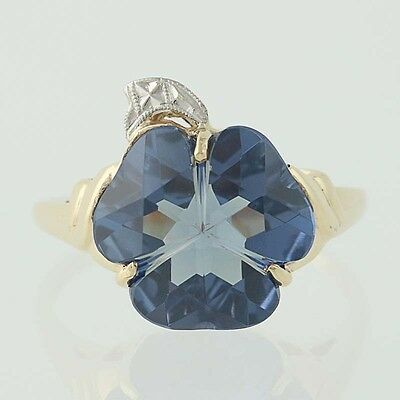 Vintage Synthetic Color Change Sapphire Ring - 10k Yellow & White Gold