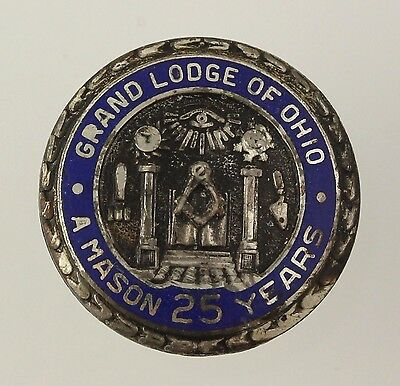 Masonic Pin Sterling Silver Grand Lodge Ohio Crest 25 Year Member Lapel Vintage