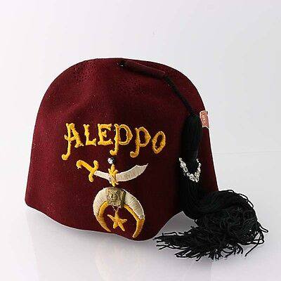 """Shriners Fez Hat Vintage Aleppo Masonic Regalia Basch Red Embroidered 21 7/8"""" 7"""