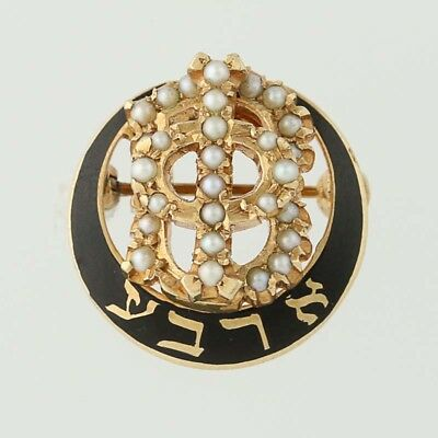 Gamma Phi Beta Badge - 14k Gold Pearls Sorority Chapter Founder 1930 Alpha Pi WV