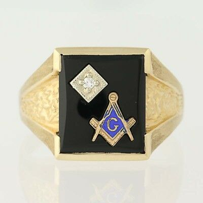 NEW Blue Lodge Master Mason Ring - 10k Yellow Gold Onyx & Diamond Masonic