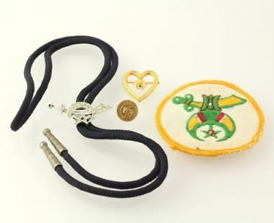 Shriners Freemason Set - Badge, Tassel, Pin, Patch Collectible Estate Gold Toned