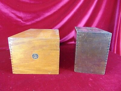 """Lot of 2 Antique Globe Wernicke """"EMPTY"""" Wood Boxes Hinged Lid Card File Box"""