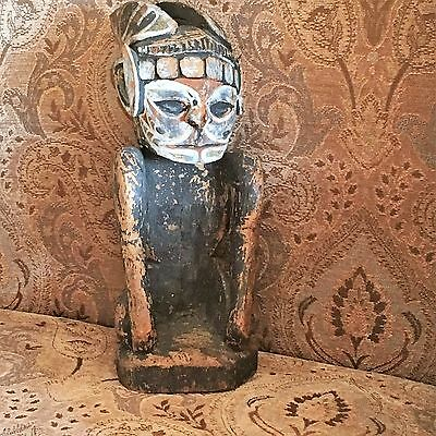 Papua New Guinea Sepik / Murik River Kneeling Carved Wood Statue