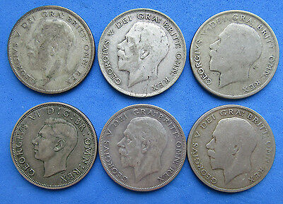 Lot Of 6 Great Britain 1/2 Half Crown Silver Coins 1921 1928 1929 1940