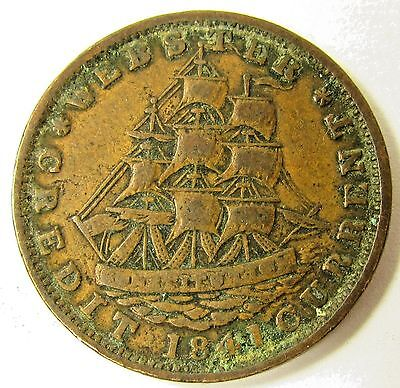 1841 Not One Cent For Tribute Hard Times Token - Millions For Defence - Webster