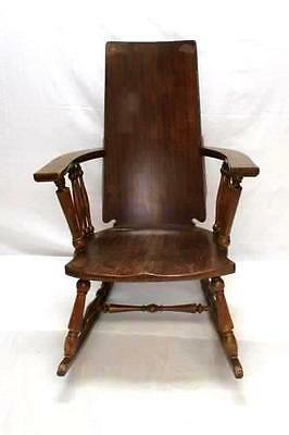 """Vintage Wooden Low Sitting Rocking Chair Solid Straight Back 39.5"""" Porch"""