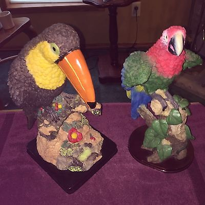 TOUCAN and MACAW PARROT TROPICAL Colorful BIRD Lot RESIN LARGE FIGURINE STATUE