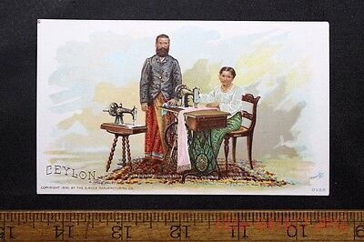 Antique Victorian Trade Card Singer Sewing Machine CEYLON  c.1892 Man & Woman