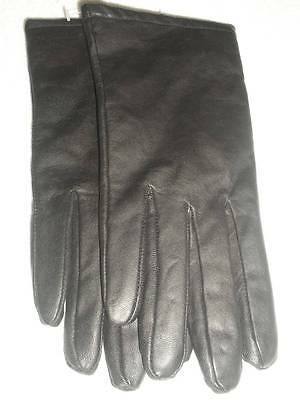 Womens Thinsulate Rich Dark Black Genuine Leather Driving Gloves 8 Nwt