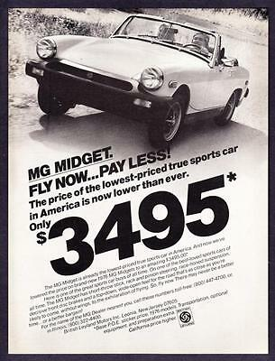 """1977 MG Midget Convertible photo """"Fly Now... Pay Less"""" vintage print ad"""