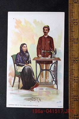 Antique Victorian Trade Card Singer Sewing Machine INDIA Man & Woman c.1892