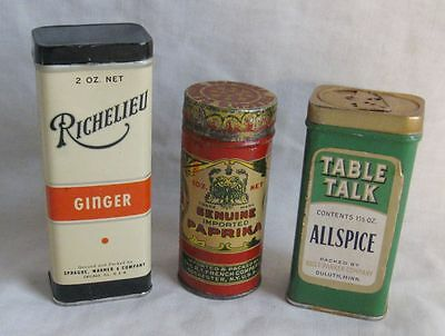 Lot Of 3 Antique Advertising Spice Tins Chicago, Rochester Ny, Duluth Mn