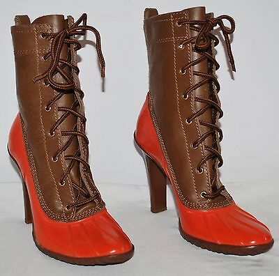 "Casadei Brown Leather Lace Up Orange Rubber Boots 4"" Heels Women's Size 7 EUC"