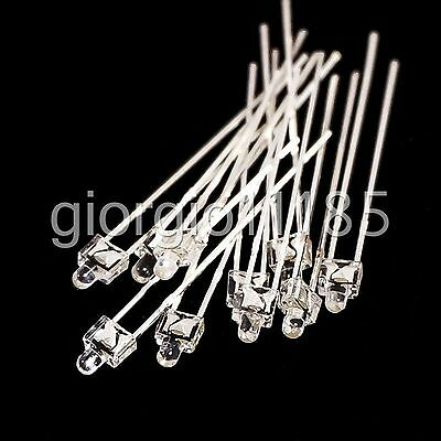 US Stock 50 pcs 2mm White Water Clear Diffused LED F2 Leds Light