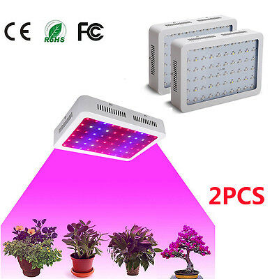 2PCS 600W LED Grow Light Full Spectrum Panel Hydro Veg Flower Indoor Plant Lamp