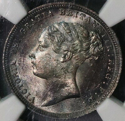 1886 NGC MS 64 Silver 6 PENCE Victoria Young Head GREAT BRITAIN Coin (16021402D)