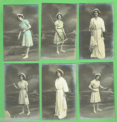 #N. SET 6 POSTCARDS - YOUNG WOMAN AT THE SEASIDE, about 1912