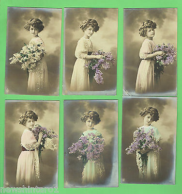 #N. SET 6 POSTCARDS - YOUNG GIRL  WITH  FLOWERS, about 1912