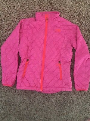 Youth Girls Quilted North Face Jacket Coat Pink Orange Large L 14/16 Thermoball