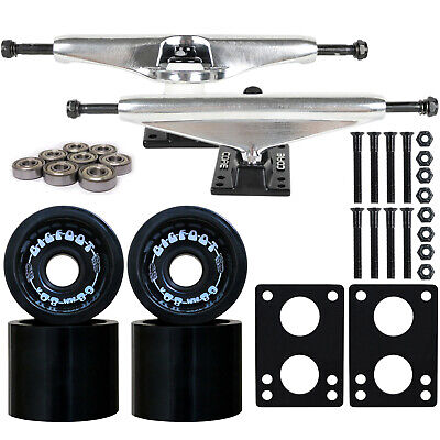 SILVER Skateboard LONGBOARD TRUCKS BIGFOOT 80a WHEELS
