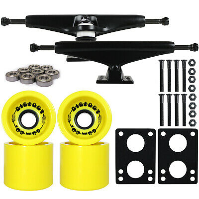 Longboard Trucks Package + Bigfoot Yellow Funnel Wheels