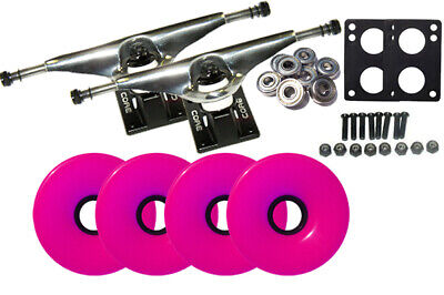 LONGBOARD Skateboard TRUCKS & WHEELS COMBO 7.0 SILVER, 70mm PINK