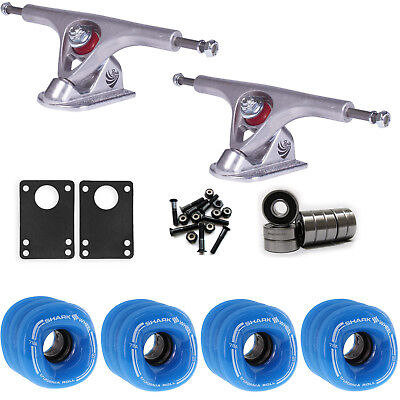 SHARK WHEELS Longboard Package 60mm BLUE PARIS 180MM RAW Trucks with Bearings
