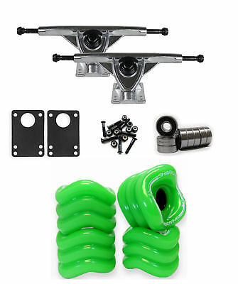 SHARK WHEELS Longboard Package 60mm GREEN 180MM RAW Trucks with Bearings